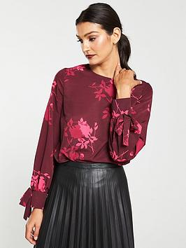 v-by-very-tie-cuff-long-sleeve-shell-top-print