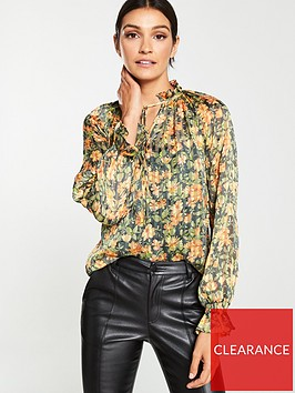 v-by-very-burnout-stripe-print-poet-blouse-yellow-floral