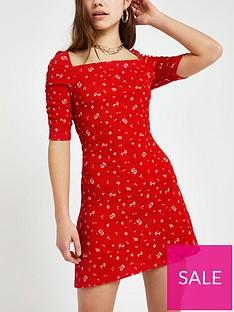 ri-petite-ri-petite-floral-square-neck-puff-sleeve-dress--red