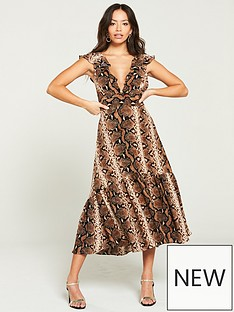 ede1ee7daf River Island River Island Snake Print Midi Dress- Brown