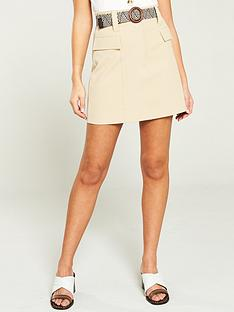 1055e127c River Island River Island Belted Utility Mini Skirt- Beige