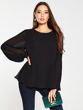 v-by-very-plisse-pleated-shell-top-black