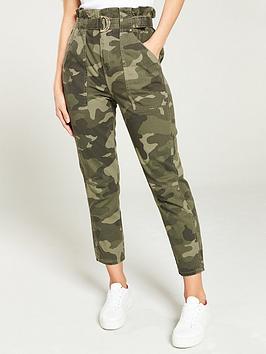 river-island-river-island-camo-print-paperbag-waist-trouser--khaki