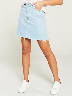 9e52815675 River Island River Island Distressed Edged Denim Mini Skirt- Light Auth