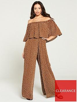 river-island-river-island-polka-dot-bardot-jumpsuit--brown