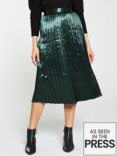 v-by-very-satin-pleated-midi-skirt-green