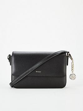 Dkny Byrant Flap Sutton Cross Body Bag - Black/Gold, Black/Gold, Women