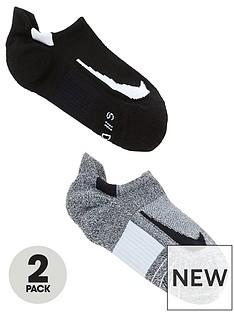 ab3774a7918de Nike 2 Pack Unisex Multiplier Run No Show Socks - Black/Grey