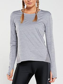 nike-run-long-sleevenbspmiler-top-grey