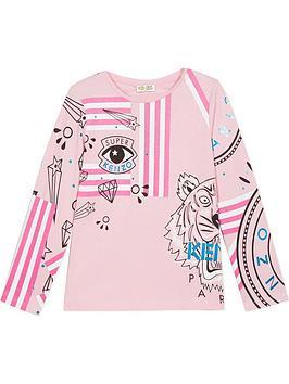 kenzo-girls-geeka-long-sleeve-t-shirt-pink