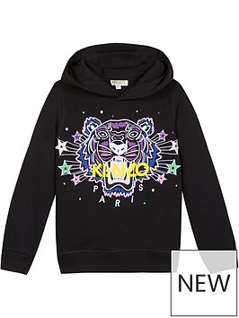 kenzo-girls-tiger-star-hoodie-black