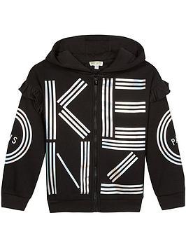 kenzo-girls-logo-frill-zip-through-hoodie-black