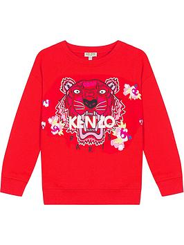 kenzo-girls-tiger-flower-sweatshirt-red