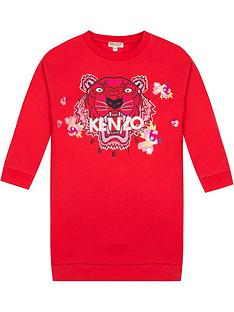 kenzo-girls-tiger-flower-sweat-dress-red