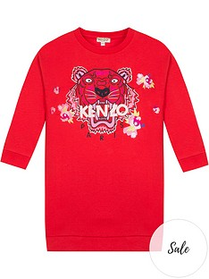 kenzo-girls-tiger-flower-sweat-dress-red