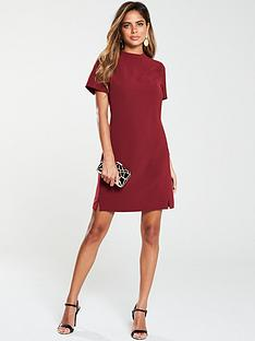 v-by-very-high-neck-simple-tunic-dress-red