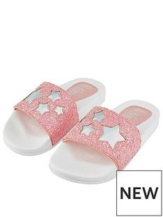 4d1ea11a451b Accessorize Girls Glitter Star Sliders - Pink
