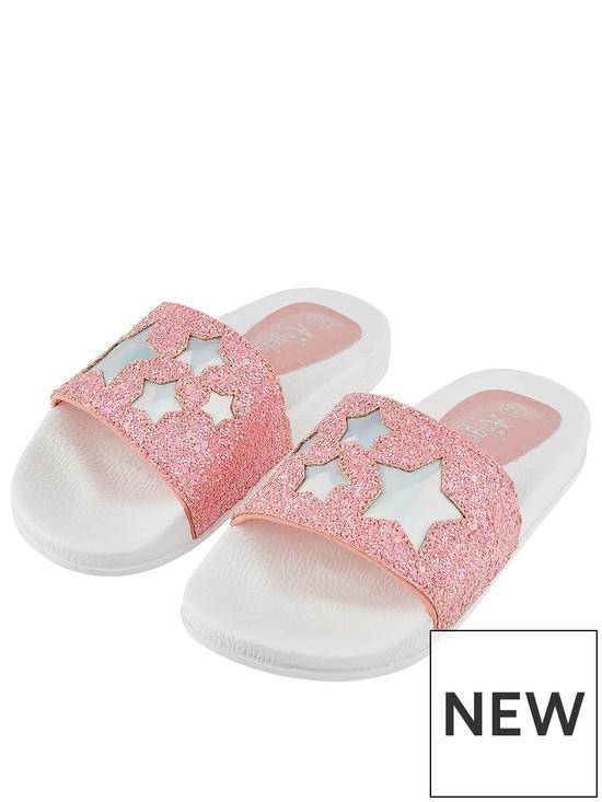 6eb38381b Accessorize Girls Glitter Star Sliders - Pink
