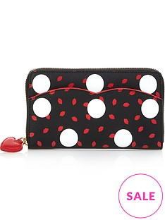 lulu-guinness-polka-dot-continental-purse-blackred