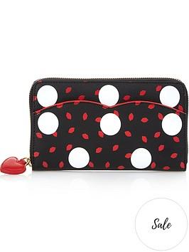 lulu-guinness-polka-dot-continental-purse-blackred