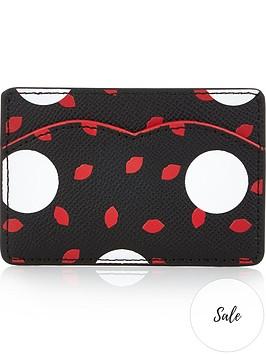 lulu-guinness-gracie-polka-dot-card-holder-blackred