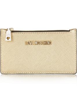 love-moschino-zip-top-card-case-gold