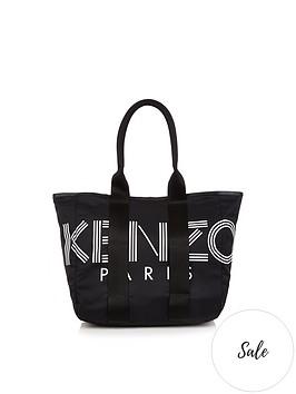 kenzo-logo-print-nylon-tote-bag-black