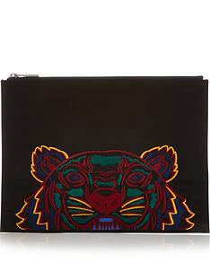 kenzo-a4-tiger-canvas-pouch-bag-black