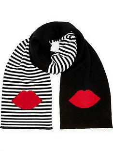 lulu-guinness-5050-lip-stripe-scarf-blackred