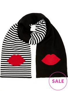 lulu-guinness-5050-lip-stripe-scarf-blackred