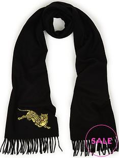 kenzo-jumping-tiger-scarf-black