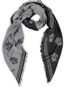 kenzo-all-over-tiger-scarf-blackgrey
