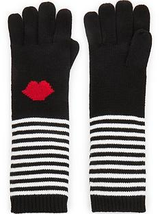 lulu-guinness-stripe-lips-gloves-blackwhite