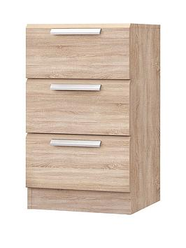 Waterford Ready Assembled 3 Drawer Bedside Cabinet