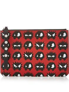 mcq-alexander-mcqueen-monster-print-pouch-red