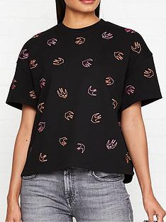 mcq-alexander-mcqueen-swallow-print-short-sleeve-sweatshirt-black
