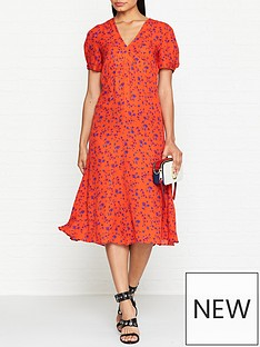 mcq-alexander-mcqueen-v-neck-floral-print-silk-dress-red