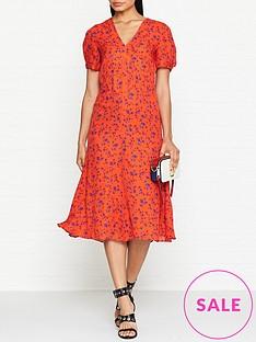 mcq-alexander-mcqueen-v-neck-floral-print-silk-dress-red