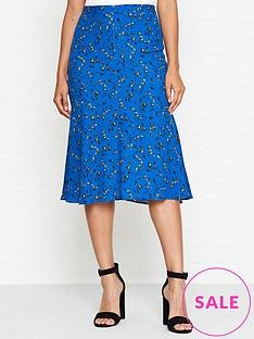 mcq-alexander-mcqueen-floral-print-skirt-blue