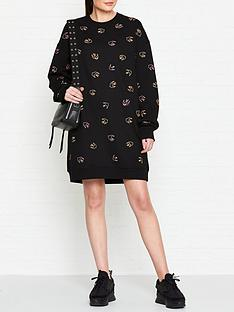 mcq-alexander-mcqueen-swallow-print-sweat-dress-black