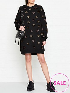 mcq-alexander-mcqueen-swallow-print-sweat-dress-black