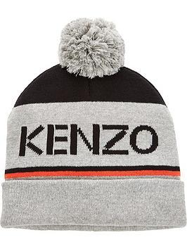 kenzo-boys-knitted-bobble-hat-grey