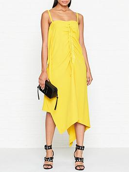 mcq-alexander-mcqueen-drawstring-draped-cami-dress-yellow