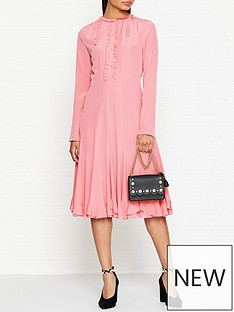mcq-alexander-mcqueen-ruffle-trim-long-sleeve-midi-dress-pink