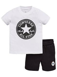 b7bbbe7fe Converse Childrens Printed Patch Shorts and T-Shirt 2 Piece Set -  White/Black
