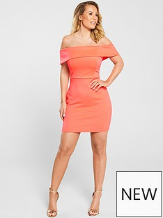 b09a50b1c38 Kate Wright Bardot Bodycon Mini Dress - Neon Pink
