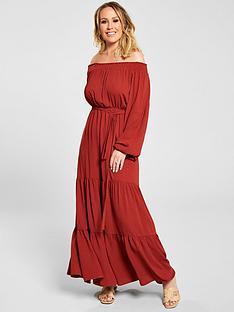 6910d6f96 Kate Wright Bardot Tiered Maxi Dress - Rust