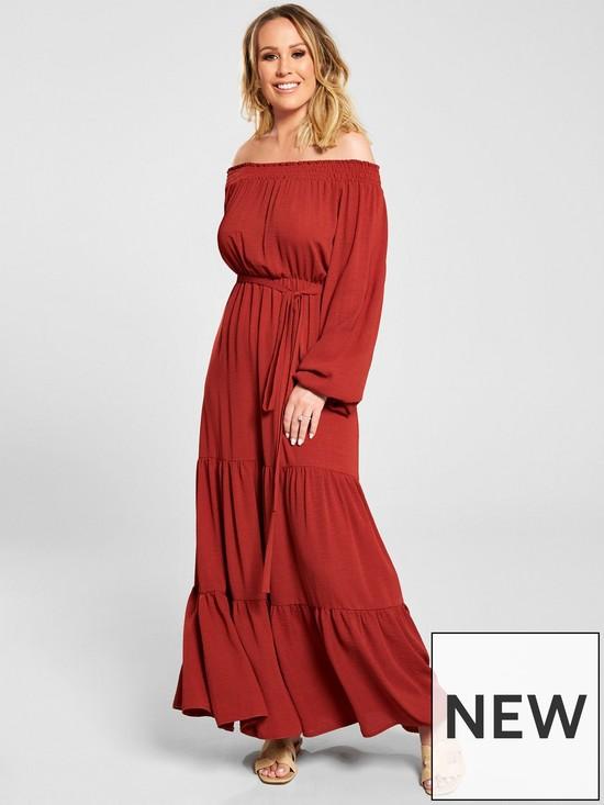 06b97d3558d5e Kate Wright Bardot Tiered Maxi Dress - Rust | very.co.uk