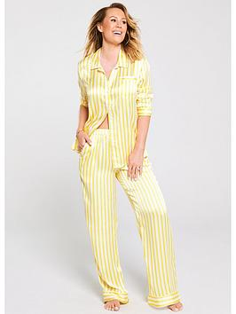 kate-wright-4-piece-satin-pyjama-set-yellowwhite