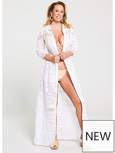 1fc8472592c73a Kate Wright Lace Trim Shirt Beach Dress - White